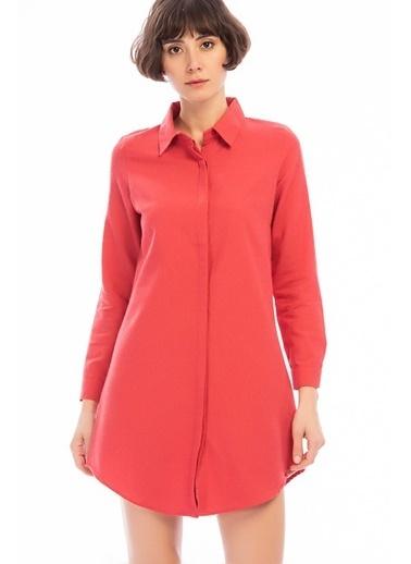 Cottonmood 8502461 Dok.Şardonlu Uzun Kollu Tunik Elbise Mercan Mercan